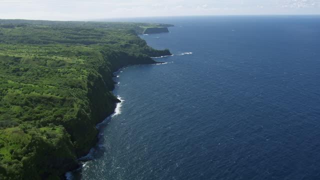 aerial view of green sea cliffs on maui in the hawaiian islands. - 谷点の映像素材/bロール