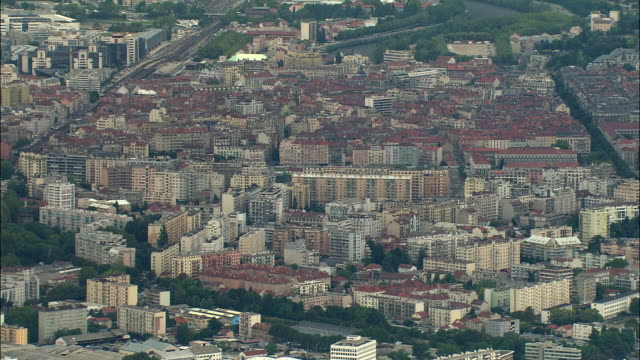 WS Aerial view of Grenoble, Rhone-Alpes, France