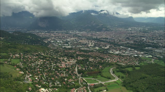 ws aerial view of grenoble, rhone-alpes, france - grenoble stock-videos und b-roll-filmmaterial