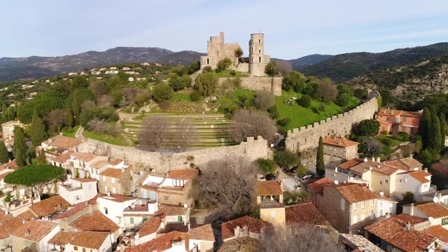 aerial view of grimaud - french culture stock videos & royalty-free footage