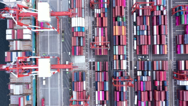 Aerial view of group of colorful container looked from above