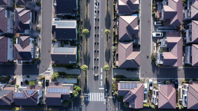 aerial view of group of detached houses - aircraft point of view stock videos & royalty-free footage