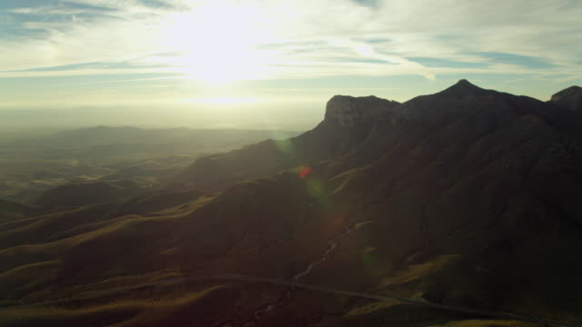 aerial view of guadalupe mountains national park during sunset, texas, united states of america - エルキャピタン点の映像素材/bロール