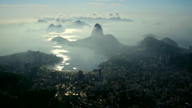 aerial view of guanabara bay bay and p��o de a����car at sunset, rio de janeiro, brazil - rio de janeiro stock-videos und b-roll-filmmaterial