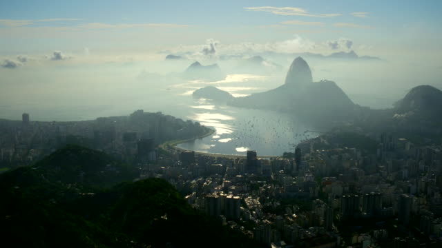 Aerial view of Guanabara bay Bay and P��o de A����car at sunset, Rio de janeiro, Brazil