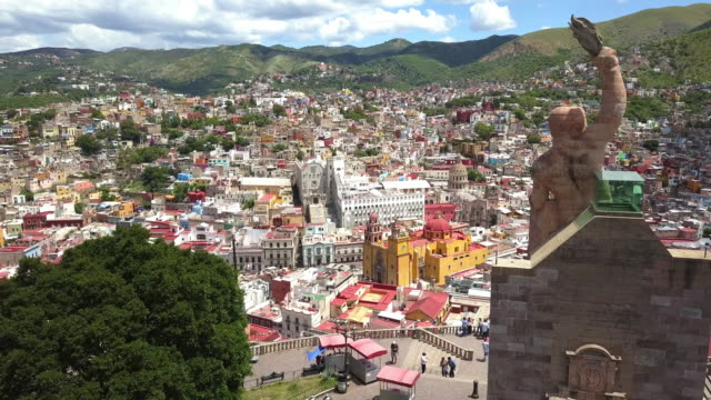aerial view of guanajuato city in mexico - mexico stock videos & royalty-free footage