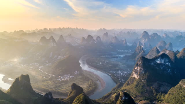aerial view of guangxi - time lapse - yangshuo stock videos & royalty-free footage