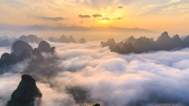 aerial view of guangxi - time lapse - atmospheric mood stock videos & royalty-free footage