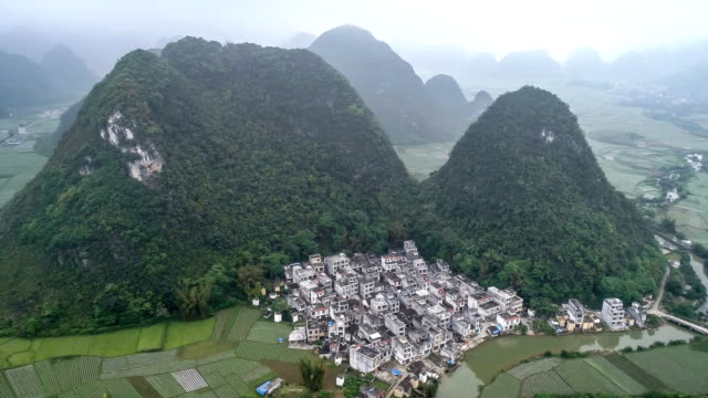 aerial view of guangxi - remote location video stock e b–roll