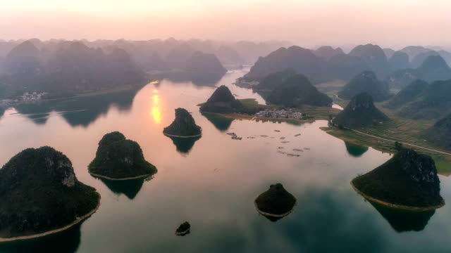 aerial view of guangxi - yangshuo stock videos & royalty-free footage