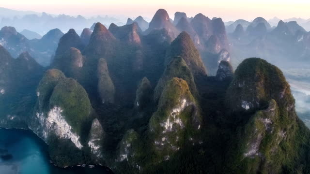 aerial view of guangxi - named wilderness area stock videos & royalty-free footage