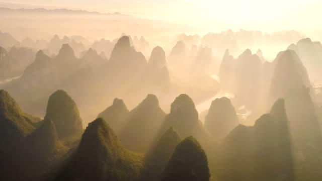 aerial view of guangxi - guilin stock videos & royalty-free footage