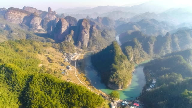aerial view of guangxi - bamboo plant stock videos and b-roll footage