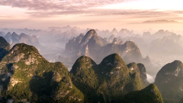 aerial view of guangxi - canyon stock videos & royalty-free footage