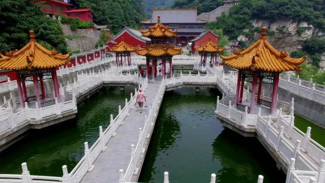 aerial view of  guanyin temple in qinling mountain,xi'an,shaanxi,china. - temple building video stock e b–roll