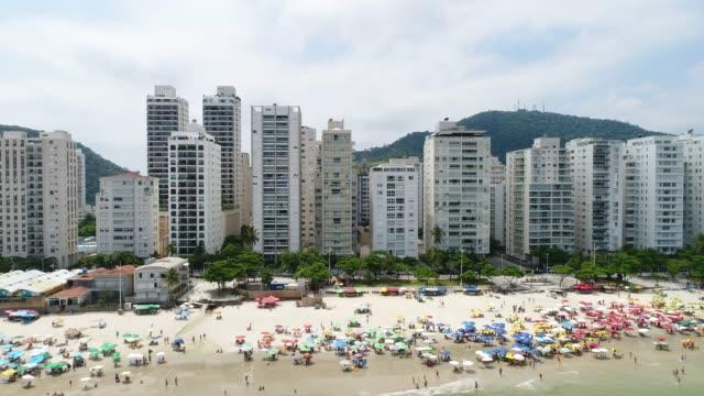 Luchtfoto van Guaruja Beach in Sao Paulo, Brazilië