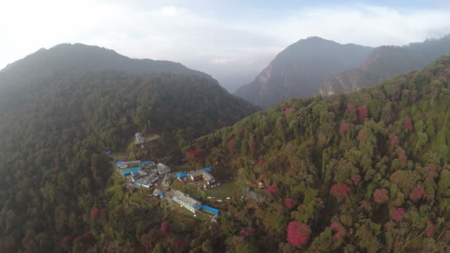 Aerial view of guest houses in Annapurna, Nepal