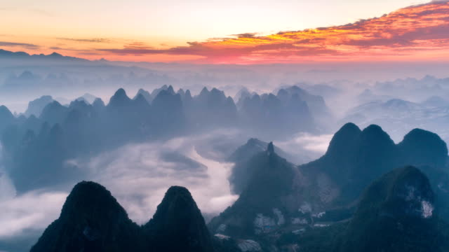aerial view of guilin - time lapse - mountain range stock videos & royalty-free footage