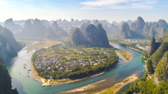 aerial view of guilin - li river stock videos & royalty-free footage