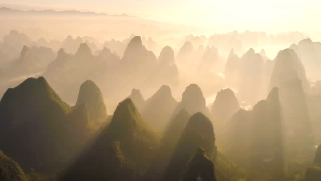 aerial view of guilin - valley stock videos & royalty-free footage