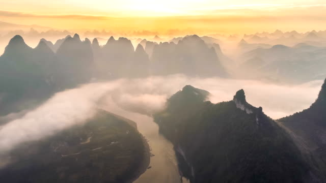 aerial view of guilin - river stock videos & royalty-free footage