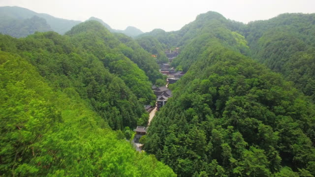 aerial view of guinsa temple in dannyang - damyang stock videos & royalty-free footage
