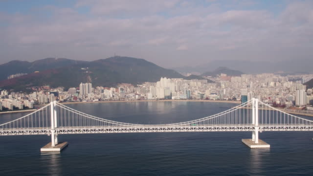 aerial view of gwangandaegyo bridge (famouns for scenery and second longest bridge in south korea) and cityscape in suyeong-gu, busan - busan stock videos & royalty-free footage