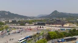 Aerial view of Gwanghwamun Gate, time lapse
