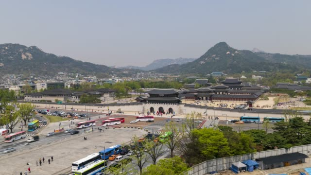 aerial view of gwanghwamun gate, time lapse - empire stock videos & royalty-free footage