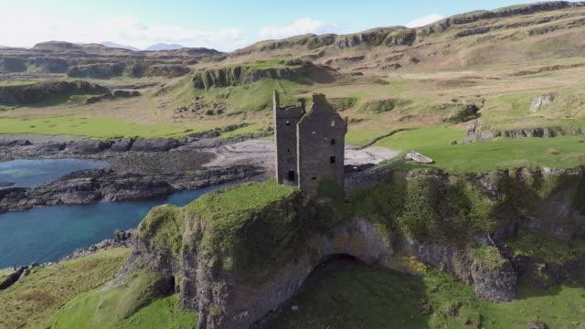 Aerial view of Gylen Castle in Kerrera Scotland, with valley and coastline