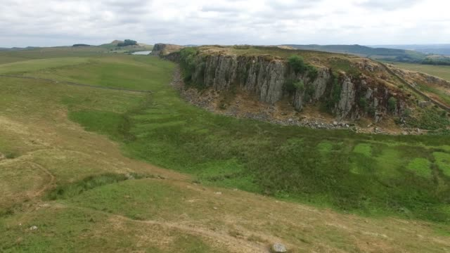 aerial view of hadrian's wall at steel rigg northumberland england uk - metal blend stock videos and b-roll footage