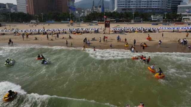 Aerial view of Haeundae Beach (the most popular beach in Korea) in Busan