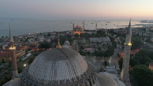 aerial view of hagia sophia and sultanahmet blue mosque at sunrise in istanbul - ramadan stock videos & royalty-free footage