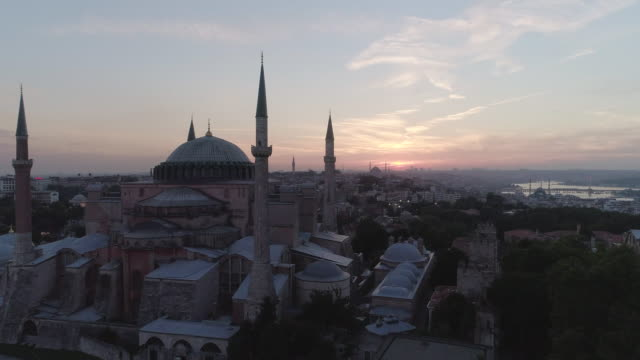 Aerial view of Hagia Sophia Mosque and old town. Istanbul. Turkey.