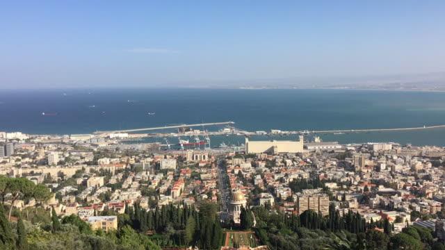 Aerial view of Haifa and Bahai Gardens, Israel