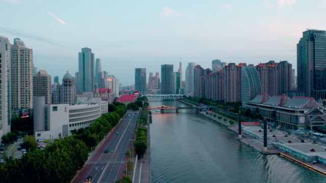 aerial view of haihe river - pechino video stock e b–roll