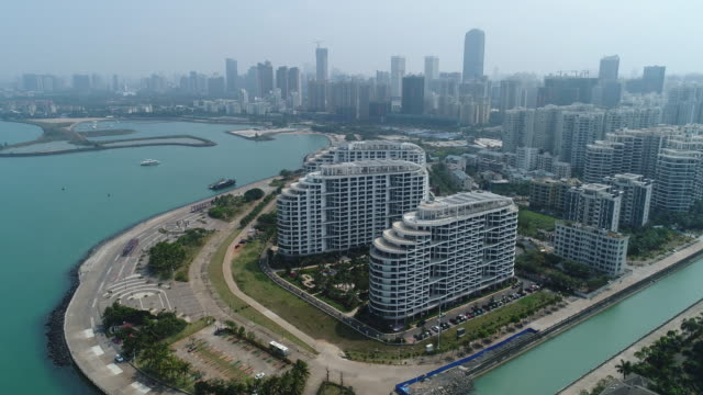 aerial view of haikou cityscape in hainan province, china - real estate stock videos & royalty-free footage