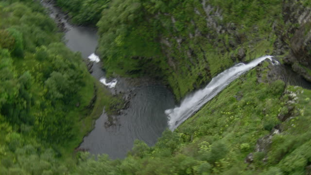 Aerial view of Halawa Falls on the Hawaiian Island of Molokai.
