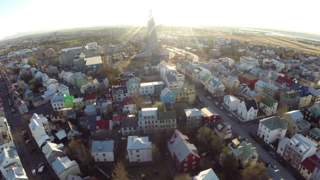 Aerial view of Hallgrimskirkja church amidst the city