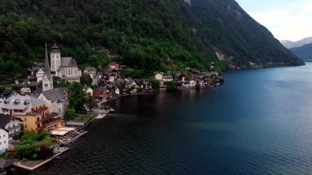 aerial view of hallstatt - unesco world heritage site stock videos & royalty-free footage