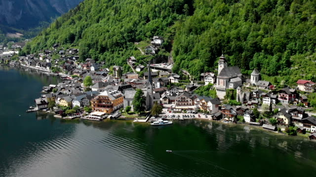 aerial view of hallstatt - traditionally austrian stock videos & royalty-free footage