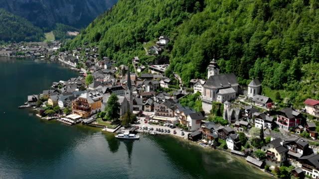 aerial view of hallstatt - salzkammergut stock videos and b-roll footage