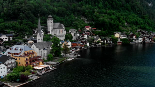 aerial view of hallstatt - austrian culture stock videos & royalty-free footage