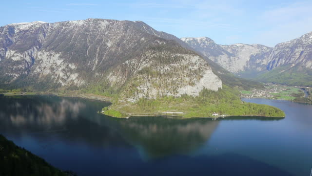 Luftaufnahme des Hallstätter See siehe Hallstatt, Österreich
