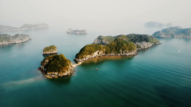 aerial view of halong bay in vietnam - bay of water stock videos & royalty-free footage