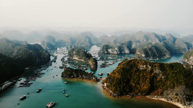 aerial view of halong bay in vietnam - unesco world heritage site stock videos & royalty-free footage