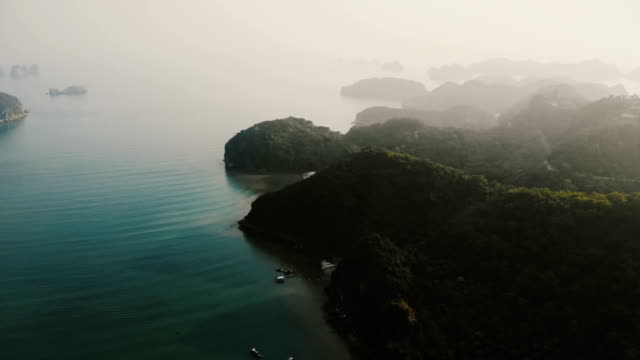 aerial view of halong bay in vietnam - halong bay stock videos and b-roll footage