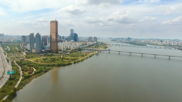 Aerial view of Han River near 63 Building (remain the tallest skyscraper in Korea until 2009) and Wonhyodaegyo