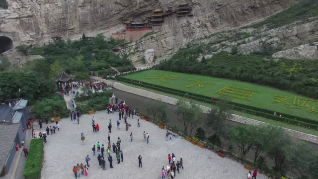 aerial view of hanging temple, shanxi datong - besichtigung stock-videos und b-roll-filmmaterial