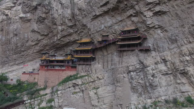 aerial view of hanging temple, shanxi datong - hanging stock videos & royalty-free footage